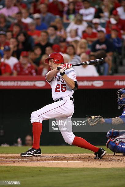 Peter Bourjos of the Los Angeles Angels of Anaheim bats during the game against the Texas Rangers at Angel Stadium on August 16 2011 in Anaheim...
