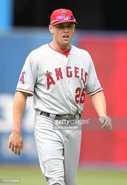 Peter Bourjos of the Los Angeles Angels of Anaheim warms up prior to a MLB game against the Toronto Blue Jays on August 14 2011 at the Rogers Centre...