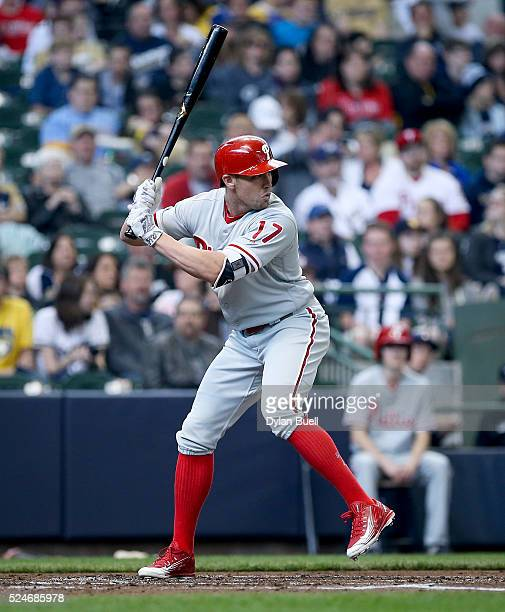 Peter Bourjos of the Philadelphia Phillies bats against the Milwaukee Brewers at Miller Park on April 24 2016 in Milwaukee Wisconsin