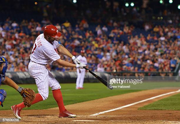 Peter Bourjos of the Philadelphia Phillies hits a one run triple in the sixth inning against the New York Mets at Citizens Bank Park on July 15 2016...