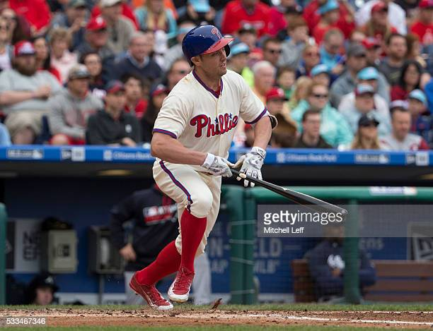 Peter Bourjos of the Philadelphia Phillies hits an RBI single in the bottom of the second inning against the Atlanta Braves at Citizens Bank Park on...