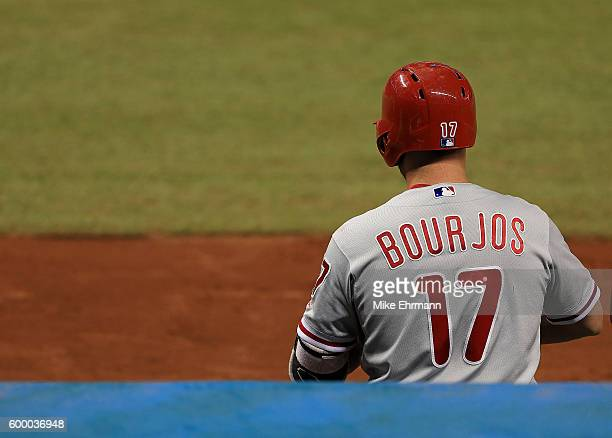 Peter Bourjos of the Philadelphia Phillies looks on during a game against the Miami Marlins at Marlins Park on September 7 2016 in Miami Florida