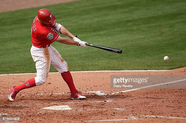 Peter Bourjos of the Philadelphia Phillies swings at a pitch during the third inning of a spring training game against the Houston Astros at Bright...