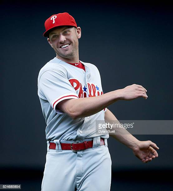 Peter Bourjos of the Philadelphia Phillies warms up before the game against the Milwaukee Brewers at Miller Park on April 24 2016 in Milwaukee...