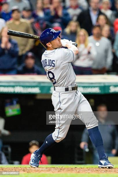 Peter Bourjos of the Tampa Bay Rays hits a solo home run during the ninth inning against the Cleveland Indians at Progressive Field on May 15 2017 in...