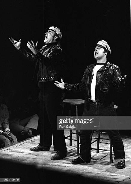 """Peter Boyle and John Belushi attend the taping of """"Saturday Night Live"""" on February 14, 1976 at Rockefeller Center in New York City."""