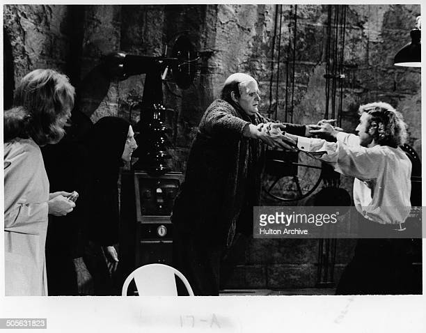 Peter Boyle dances with Gene Wilder in a scene from the movie Young Frankenstein circa 1974