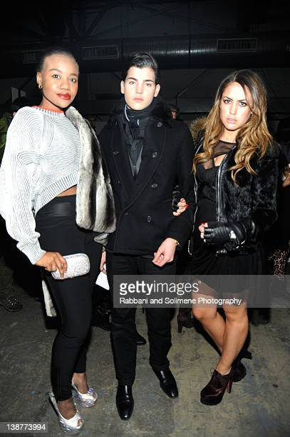 Peter Brant II Yvette Prieto and guest attend the Alexander Wang Fall 2012 fashion show during MercedesBenz Fashion Week at Pier 94 on February 11...