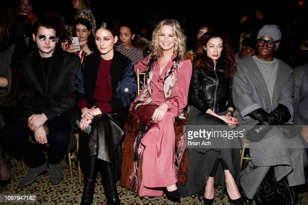 Peter Brant Jr Olivia Palermo Jennifer Nettles Michelle Gomez and Miss J attend the Dennis Basso front row during New York Fashion Week The Shows at...