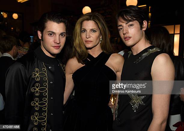 Peter Brant Stephanie Seymour and Harry Brant attend the 2015 Tribeca Film Festival CHANEL Artists Dinner at Balthazer on April 20 2015 in New York...