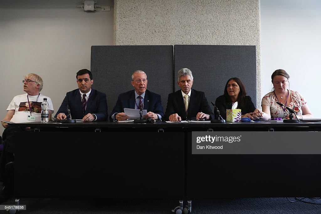 Peter Brierley, Matthew Jury, Roger Bacon, Roger Keys, Rose Gentle and Sarah O'Connor, relatives of military personnel killed during the Iraq War talk at a news conference after listening to Sir John Chilcot present The Iraq Inquiry Report at the Queen Elizabeth II Centre in Westminster on July 6, 2016 in London, England. The Iraq Inquiry Report into the UK government's involvement in the 2003 Iraq War under the leadership of Tony Blair is published today. The inquiry, which concluded in February 2011, was announced by then Prime Minister Gordon Brown in 2009 and is published more than seven years later.