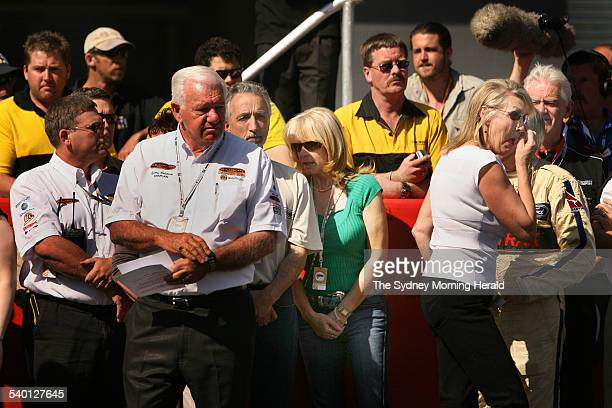 Peter Brocks former wife Bev Brock right cries as she walks past Peter Brocks' partner at the time of his death Julie Bamford fourth from right...