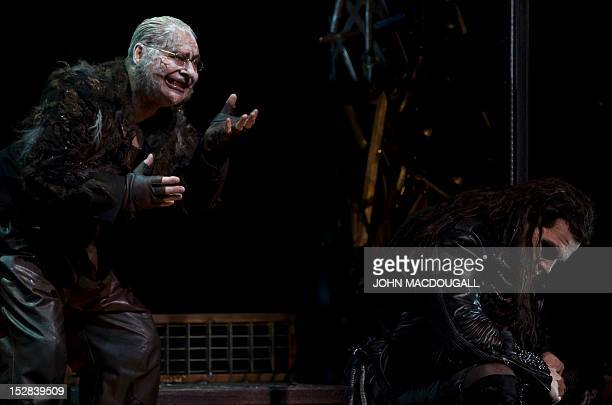 Peter Bronder as Mime and Lance Ryan as Siegfried perform during a dress rehearsal of Richard Wagner's opera Siegfried at Berlin's Staatsoper im...