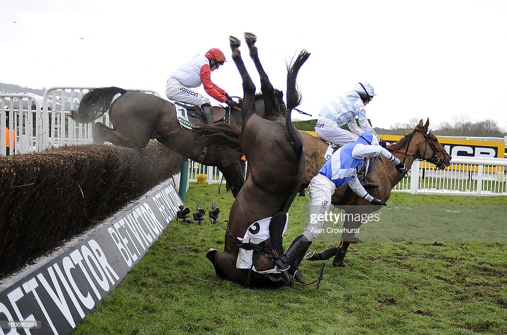 Peter Buchanan falls from Bold Sir Brian in The Murphy Group Steeple Chase at Cheltenham racecourse on January 26, 2013 in Cheltenham, England.