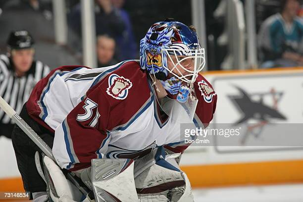 Peter Budaj of the Colorado Avalanche readies for a faceoff during a game against the San Jose Sharks on January 15 2007 at the HP Pavilion in San...