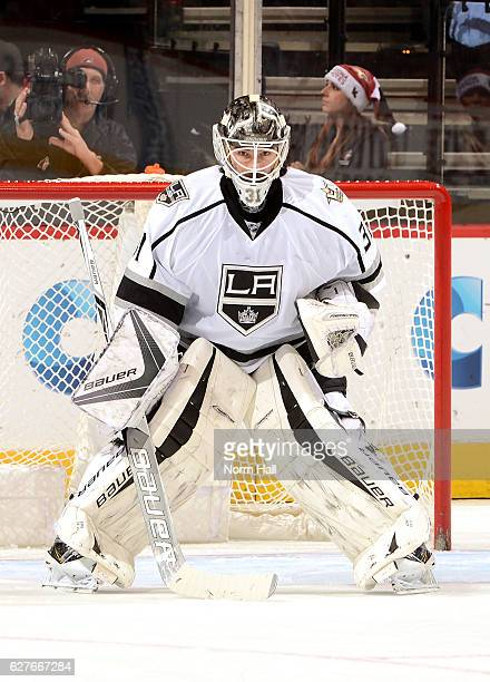 Peter Budaj of the Los Angeles Kings gets ready to make a save against the Arizona Coyotes at Gila River Arena on December 1 2016 in Glendale Arizona