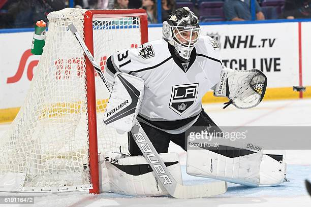 Peter Budaj of the Los Angeles Kings makes a save against the St Louis Blues in the first period on October 29 2016 at Scottrade Center in St Louis...