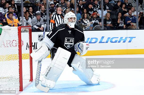 Peter Budaj of the Los Angeles Kings stands in the goal during a game against the Arizona Coyotes at STAPLES Center on September 22 2015 in Los...