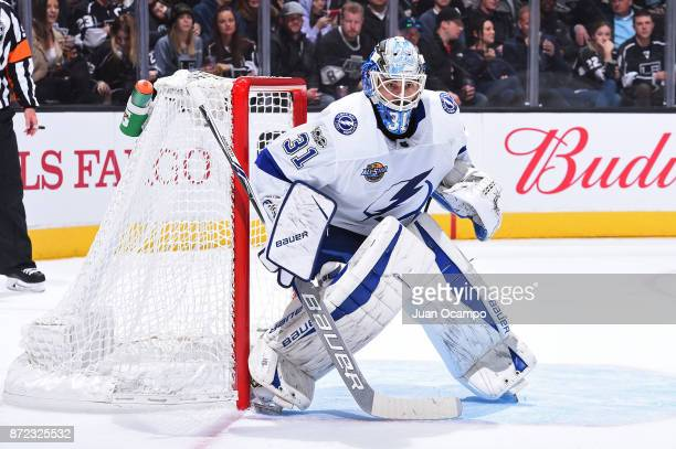 Peter Budaj of the Tampa Bay Lightning defends the net during a game against the Los Angeles Kings at STAPLES Center on November 9 2017 in Los...