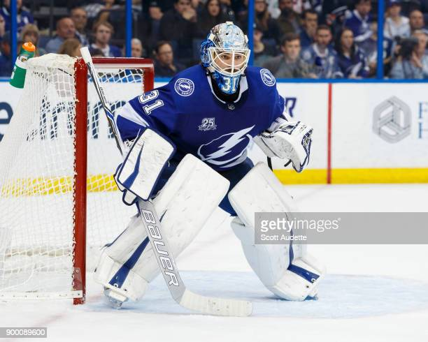 Peter Budaj of the Tampa Bay Lightning skates against the Philadelphia Flyers during the second period at Amalie Arena on December 29 2017 in Tampa...