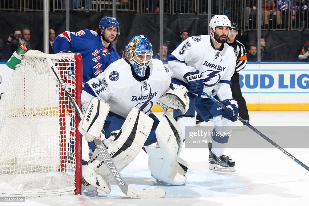 Peter Budaj #31 of the Tampa Bay Lightning tends the net against the New York Rangers at Madison Square Garden on March 13, 2017 in New York City.