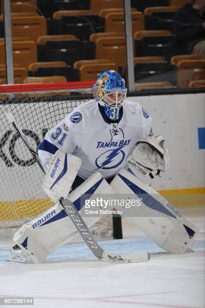 Peter Budaj of the Tampa Bay Lightning warms up before the game against the Boston Bruins at the TD Garden on March 23 2017 in Boston Massachusetts