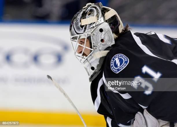 Peter Budaj of the Tampa Bay Lightning watches play against the Toronto Maple Leafs during the third period at the Amalie Arena on March 16 2017 in...