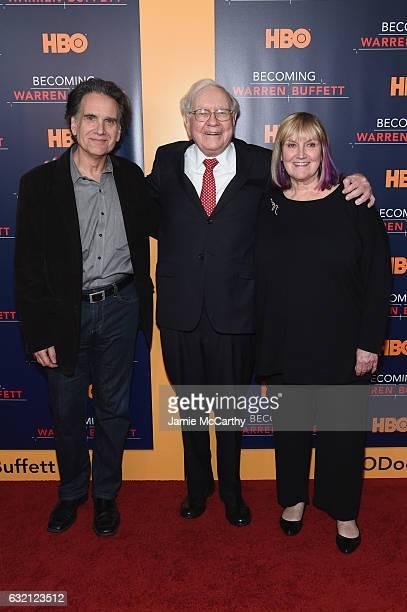 Peter Buffett Warren Buffett and Susie Buffett attend 'Becoming Warren Buffett' World Premiere at The Museum of Modern Art on January 19 2017 in New...
