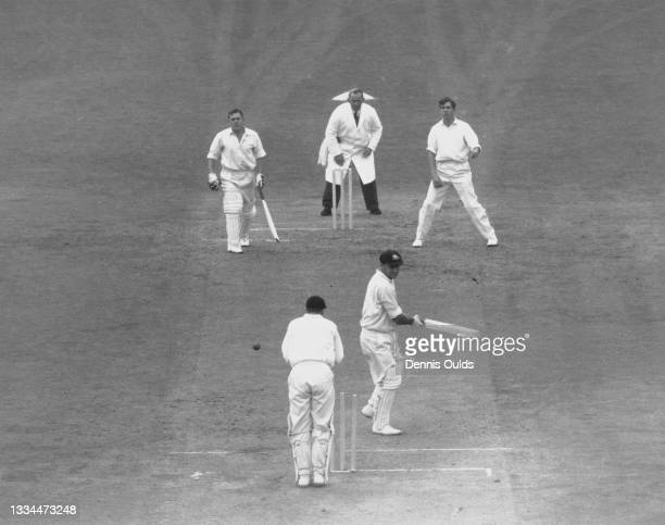 Peter Burge of Australia is bowled out for 181 by David Allen of England on the third day of the 5th Test Match against Australia on 19th August 1961...