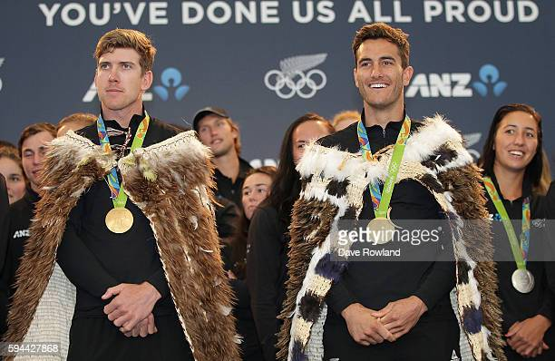Peter Burling and Blair Tuke gold medalists in the 49er yachting class during the New Zealand Olympic Games athlete home coming at Auckland...