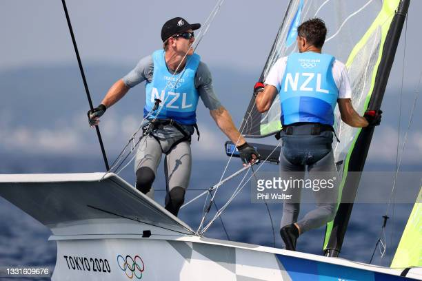Peter Burling and Blair Tuke of Team New Zealand compete in the Men's Skiff 49er on day eight of the Tokyo 2020 Olympic Games at Enoshima Yacht...
