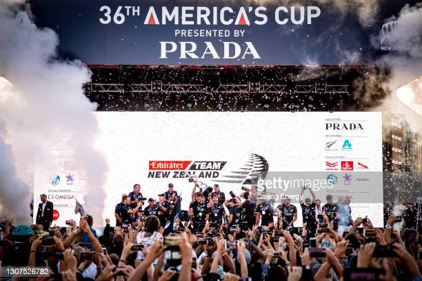 Peter Burling and his Emirates Team New Zealand teammates celebrate after winning the America's Cup against Luna Rossa Prada Pirelli Team on Auckland...