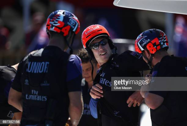 Peter Burling helm of Emirates Team New Zealand returns to shore after winning both races during day 2 of the Americas Cup Match Presented by Louis...