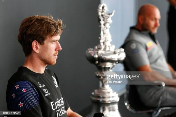 Peter Burling of Emirates Team New Zealand and Max Sirena of Luna Rossa Prada during the 2021 America's Cup press conference at the PRADA Media...