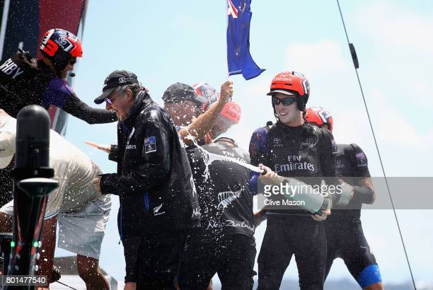 Peter Burling of Emirates Team New Zealand celebrates as they win race 9 against Oracle Team USA to win the America's Cup on day 5 of the America's...