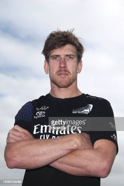 Peter Burling of Emirates Team New Zealand during the 2021 America's Cup press conference at the PRADA Media Centre on March 09, 2021 in Auckland,...