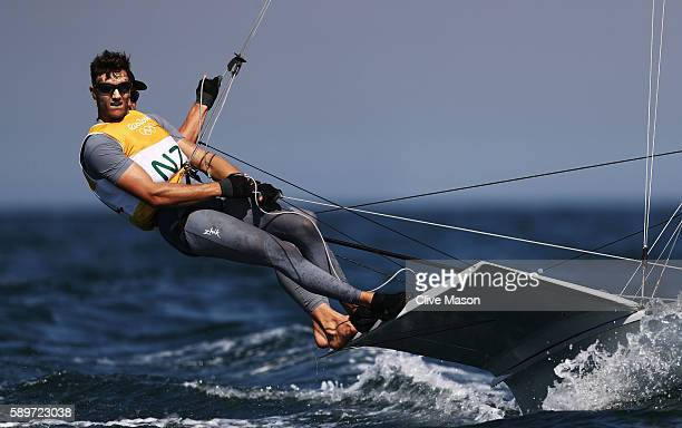 Peter Burling of New Zealand and Blair Tuke of New Zealand compete in the Men's 49ers class on Day 10 of the Rio 2016 Olympic Games at the Marina da...