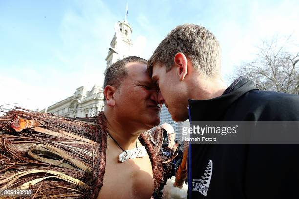 Peter Burling receives a Maori hongi during the Team New Zealand Americas Cup Welcome Home Parade on July 6 2017 in Auckland New Zealand