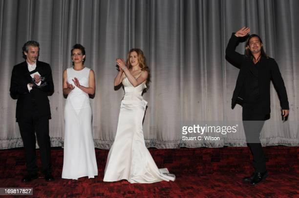 Peter Capaldi, Daniella Kertesz, Mireille Enos and Brad Pitt attend the World Premiere of 'World War Z' at The Empire Cinema on June 2, 2013 in...
