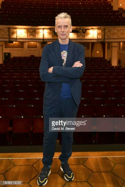 """Peter Capaldi poses following the press preview performance of """"Constellations"""" at the Vaudeville Theatre on July 01, 2021 in London, England."""