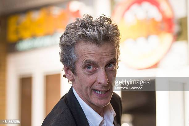 Peter Capaldi who plays the Doctor in BBC show 'Doctor Who' spotted during filming for the ninth series of 'Doctor Who' at Ed's Diner at Mermaid Quay...
