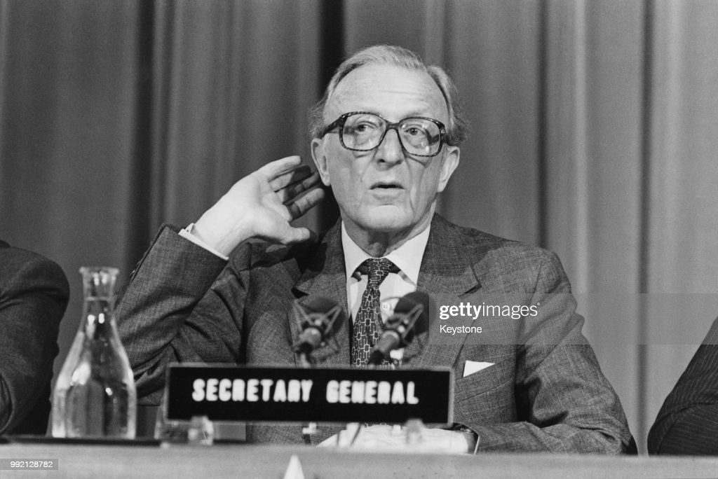 Peter Carington, 6th Baron Carrington, the Secretary General of NATO, holds a press conference in Brussels, Belgium, 5th December 1984.