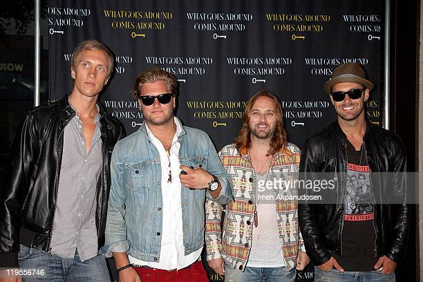 Peter Carlsson Rickard Goransson Chad Wolf and Johan Carlsson of Carolina Liar attend the What Goes Around Comes Around LA Store Opening on July 21...