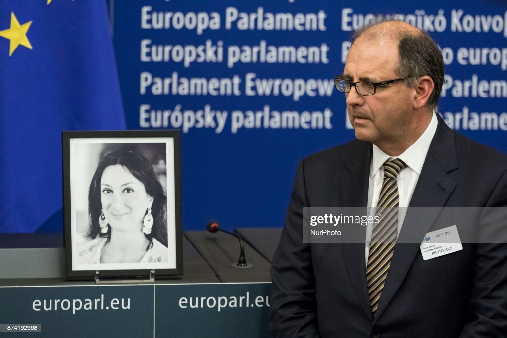 Peter Caruana Galizia, the dead journalist's husband Daphné, attends Naming ceremony of press conference room in honour of Daphné CARUANA GALIZIA on 14 november 2017, in Strasbourg, France. Daphné CARUANA GALIZIA was a Maltese journalist, writer, and anti-corruption activist. At around 3 pm on 16 October 2017, Daphne Caruana Galizia died in a car bomb attack on her rented Peugeot 108, while she was driving close to her home in Malta.