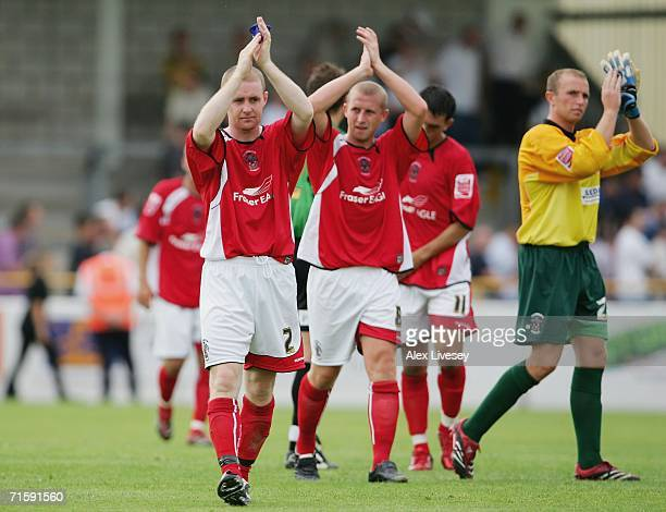Peter Cavanagh the captain of Accrington Stanley claps the fans along with his team mates after the CocaCola League Two match between Chester City...