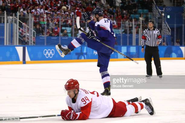 Peter Ceresnak of Slovakia celebrates scoring a goal in the third period against Alexander Barabanov of Olympic Athletes from Russia during the Men's...