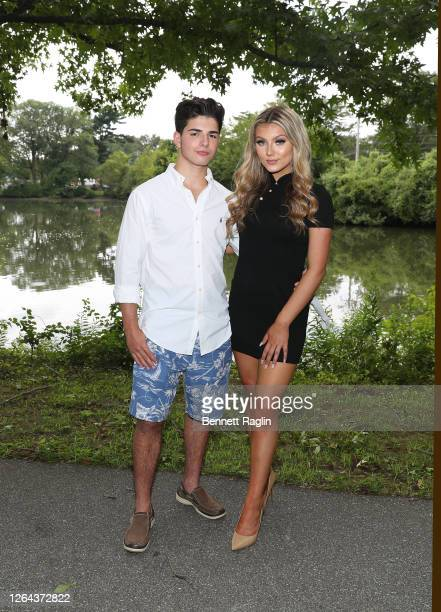 """Peter Cestaro and Mya Xeller of Amazon Prime's """"Next Big Thing NYC"""" as seen at Christopher Morley Park on August 06, 2020 in Roslyn Heights, New York."""