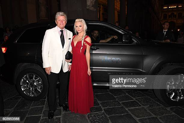 Peter Cetera and guest arrive at the Celebrity Fight Night Gala dinner on board of Jeep Cherokee September 11 2016 in Florence Italy
