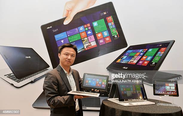 Peter Chang Head of South Asia and Country Manager System Business Group of ASUS India showcases the company's Transformer Series of...