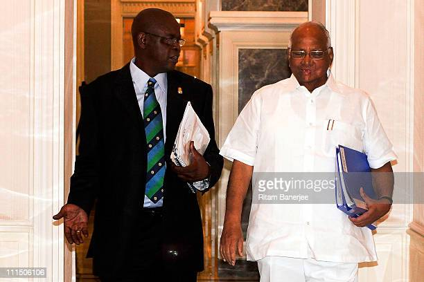 Peter Chingoka member of the Zimbabwen IDI Board of Directors with Sharad Pawar President of the ICC Executive Board make their way to the ICC Board...